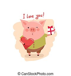 illustration of cute cartoon pig with pink large heart