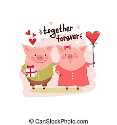 illustration of cute cartoon pigs couple and text