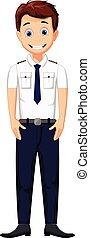 cute cartoon pilot posing