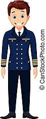 cute cartoon pilot standing