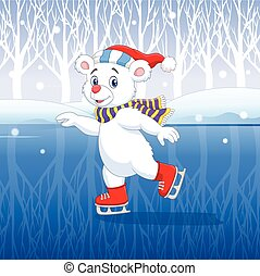 Cute cartoon polar bear ice skating - Vector illustration of...
