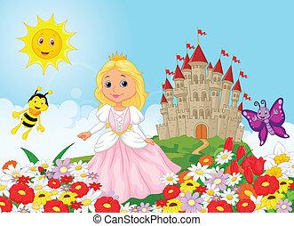 Cute cartoon princess in the floral