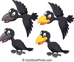 Cute cartoon raven - Vector illustration of Cute cartoon...