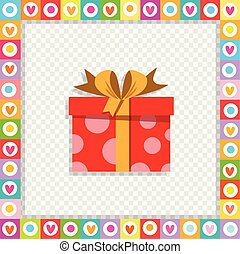 cute cartoon red gift box wrapped with festive ribbon framed with heart border isolated.