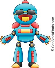 Cute cartoon robot character with sunglasses isolated on white background