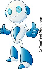 Cute cartoon robot smile and giving thumbs up on white background