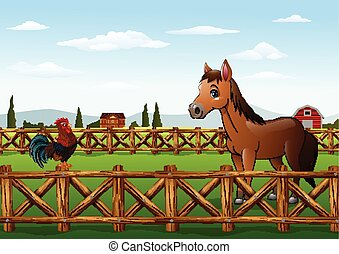 Cute cartoon rooster and horse
