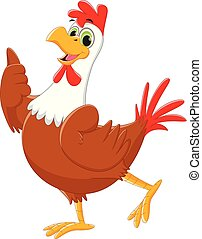 cute cartoon rooster give thumb up