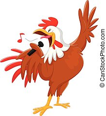 cute cartoon rooster singing a song. isolated on white - ...