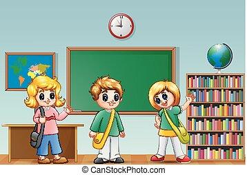 Cute cartoon school kids in a classroom