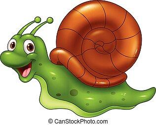 Vector illustration of Cute cartoon snail