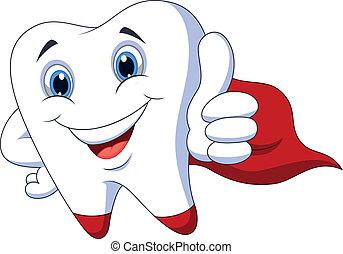 Cute cartoon superhero tooth - Vector illustration of Cute...