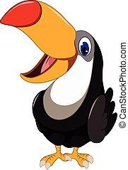 Cute cartoon toucan bird posing