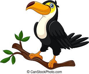Cute cartoon toucan stand on a branch