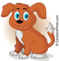 vector illustration of Cute cartoon vector puppy dog