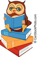 cute cartoon wise owl read a book - Vector Illustration of...
