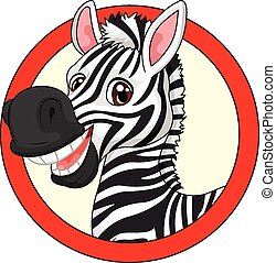 Cute cartoon zebra mascot - Vector illustration of Cute...