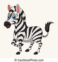 Cute cartoon zebra on white background