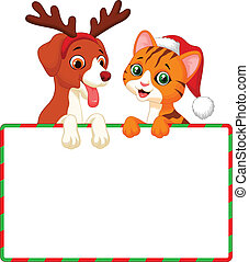 Cute cat and dog cartoon holding bl - Vector illustration of...