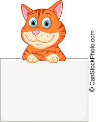 Vector Illustration of Cute cat cartoon holding sign