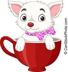Cute cat cartoon sitting in a red cup