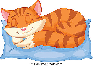 Cute cat cartoon sleeping on a pill