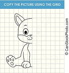 Cute cat sitting. Copy the picture using grid lines. Educational game for children