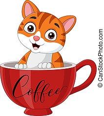 Cute cat sitting in a red cup