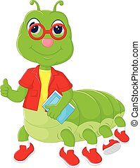 cute caterpillar cartoon posing bring book with smile and thumb up