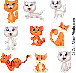 Cute cats cartoon collection set