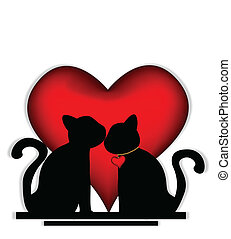 Cute cats in love - vector illustration of Cute cats in love