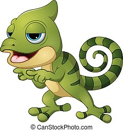 Cute chameleon lizard cartoon pointing