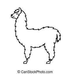 Vector illustration of cute character south America lama...