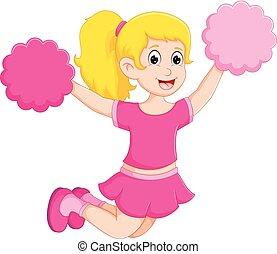 cute cheerleader cartoon fly with pom pom - vector...