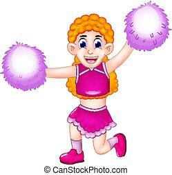 cute cheerleading cartoon posing with smiling and waving
