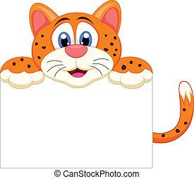 Cute cheetah cartoon with blank sig