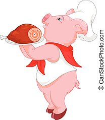 cute chef pig cartoon