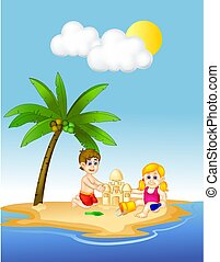 cute children cartoon play sand on the island