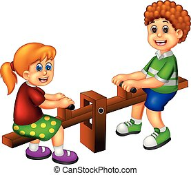 cute children cartoon play see saw with laughing - vector ...