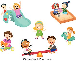 cute children play with toys in the kindergarten