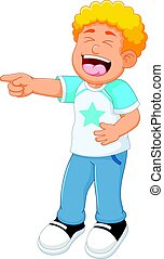 cute children standing with laughing and pointing finger
