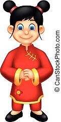 cute chinese girl cartoon standing with smiling