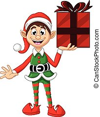 Cute Christmas elf holding a gift - vector illustration of...