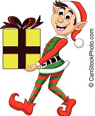 Cute Christmas elf holding a gift