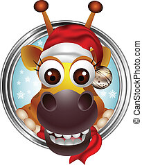 cute christmas giraffe head cartoon