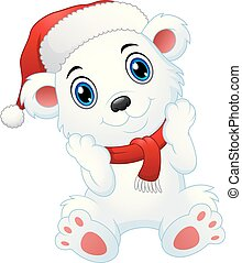 Cute christmas polar bear cartoon