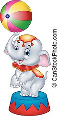 Cute Circus elephant with a striped - Vector illustration of...