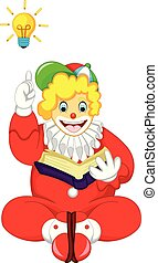 cute clown cartoon sitting with smile and get idea
