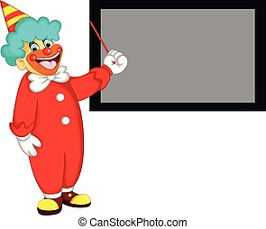 cute clown cartoon standing with laughing and pointing black board