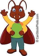 cute cockroach cartoon standing